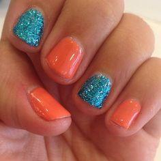mermaid inspired gel manicure