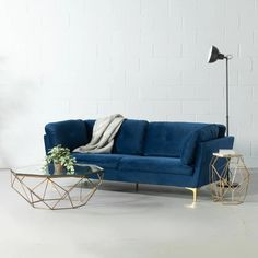 MORENO - Blue Fabric Sofa – Wazo Furniture Mid Century Modern Sofa, Solid Wood Furniture, Furniture Companies, Fabric Sofa, Blue Fabric, Home Living Room, Midcentury Modern, Outdoor Sofa, Sofas
