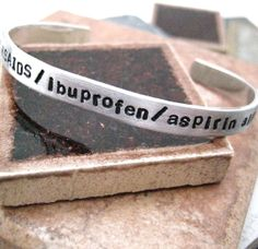 "Customize your own bracelet with your favorite saying, quote, names, dates, medical allergy, sentiment, etc! Bracelet is 1/4"" wide, 6"" long (15.5 cm) of 14 gauge 1100 Pure Aluminum $15.95"