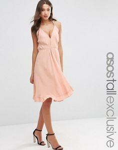Buy Hot Pink Asos tall Evening dress for woman at best price. Compare Dresses prices from online stores like Asos - Wossel United States Tall Dresses, Casual Day Dresses, Pretty Dresses, Robe Swing, Swing Dress, Wrap Tie Dress, Online Shop Kleidung, Asos Mode, Mismatched Bridesmaid Dresses