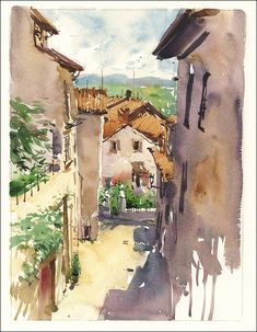 Totally captured in watercolor of Cortona, Italy by Marc Taro Holmes Watercolor Architecture, Watercolor Landscape, Watercolor And Ink, Watercolor Paintings, Watercolors, Watercolor Sketchbook, Art Sketchbook, Fashion Sketchbook, Monuments