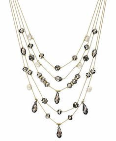 INC International Concepts Gold-Tone Hematite Bead and Crystal Fireball Illusion Necklace