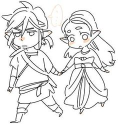 Link and Zelda  (art by 草加)