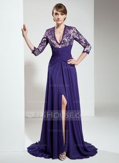 Mother of the Bride Dresses - $158.99 - A-Line/Princess V-neck Sweep Train Chiffon Charmeuse Lace Mother of the Bride Dress With Ruffle Beading (008006141) http://jjshouse.com/A-Line-Princess-V-Neck-Sweep-Train-Chiffon-Charmeuse-Lace-Mother-Of-The-Bride-Dress-With-Ruffle-Beading-008006141-g6141