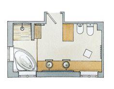 BANHEIRO - casal, tem de ter espaço para banheira vitoriana, duas pias e local para ducha (espaçoso). Janela em cima da banheira.