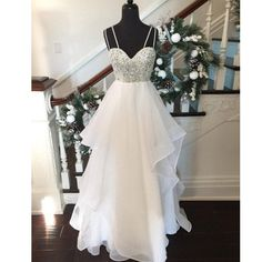 Beautiful White Sweetheart Beaded Top Long Prom Dress,Fashion