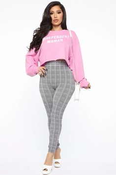 Independent Woman Sweatshirt - Pink - Best Picture For fashion casual For Your Taste You are looking for something, and it is going to - Independent Women, Fashion Nova Models, Grey Fashion, Fashion Women, Costume, Blazer, Black Leggings, Fasion, Casual Outfits