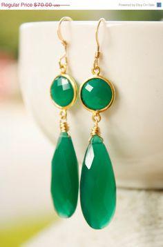 beautiful!   Emerald Green Onyx Teardrop Earrings  Red by OhKuol, $59.50