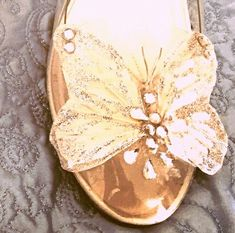 """Butterfly shoe clips, feathers, glitter and crystals!  Approx. 3"""" wide.  This listing is for the shoe clips only. We offer the cinderella shoes shown, including butterflies, in another listing.  Please take a moment to browse our shop! :)"""