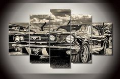 Ford Mustang 1965 Art 5 Panel Framed Wall Canvas
