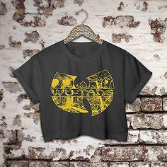 WU TANG logo  hip hop GZA RZA t-shirt black crop top tee for women