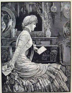 Victorian Illustration 1870s    Beautiful dress