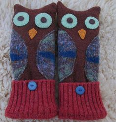 Owl Mittens made from Re-purposed Felted Wool Sweaters