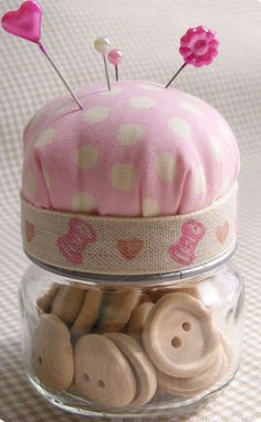 Craft an adorable pin cushion/button jar. | 23 Insanely Cool Things You Can Do With Baby Food Jars