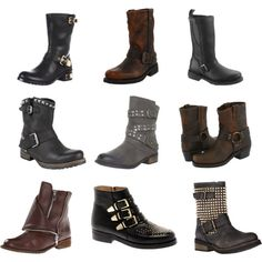 """""""Motorcycle and Biker Boots"""" by dapperq on Polyvore"""