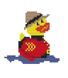 Cross Stitch Kit 'Mountie Duck' by FredSpools on Etsy