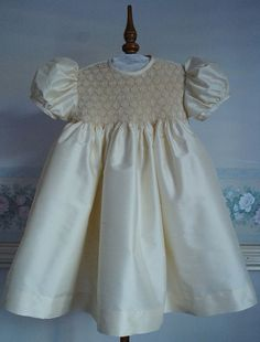 Hand smocked, handmade silk dress, Flower girls dress, Christening Dress available by Custom Order only in sizes 6 months to 4 years