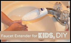 Tutorial for making a faucet extender out of an old body wash bottle. Much needed for the potty training toddler's bathroom!