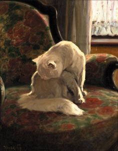 Arthur Heyer, Angora on a Chair, Private Collection