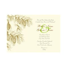 Pine Boughs Collection, perfect for fall and winter weddings and events.  Beautiful pine boughs invitation with branches, nettles, pine cones and charm. A chic and whimsical motif perfect for weddings, anniversaries and other occasions. You can customize it to whatever your needs may be for your event. RSVP cards and other products are available in my shop. Other colors schemes are available upon request.