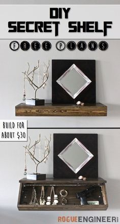DIY Secret Shelf. Such a great way to save space and make your home look fabulous. -  Free Plans at RogueEngineer.com