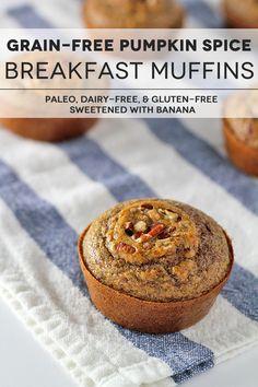 Grain-Free Pumpkin Spice Muffins Recipe: paleo, dairy-free & gluten-free. Sweetened naturally with banana!