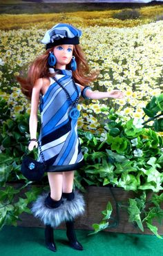 OOAK Vintage Silkstone Barbie Mod Fashion 11pc BLUE PEACE Clare's Couture #ClaresCouture