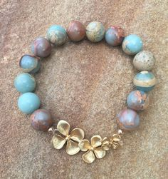 Blue Terra Cotta Tan Brown Aqua Terra Jasper with 14K Gold Flowers by YellowMangoBracelets / tropical flower bracelet / summer fashion jewelry / stacking bracelet #earthtone #summerinspired