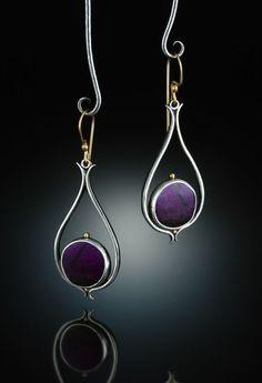 Sugilite Earrings. Fabricated Sterling Silver, 14k  18k. http://www.amybuettner.com