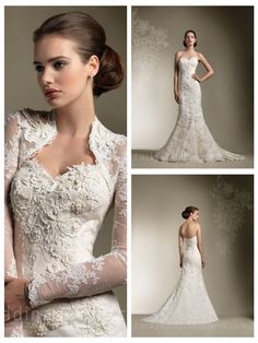 Trumpet/Mermaid All Over Lace Sweetheart Wedding Dress with Long Sleeve Jacket Gorgeous