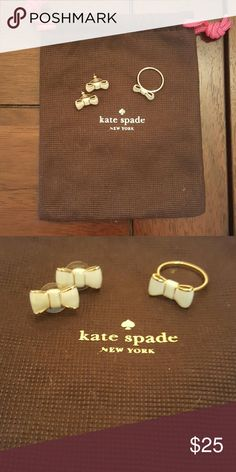 "Kate Spade ""Take a Bow"" earrings and ring set Worn a couple times. Ring is size 8. kate spade Jewelry"