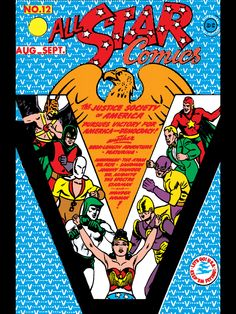 All Star Comics - Wonder Woman takes the center of the cover even though her role on the team was *ahem* evolving. Star Comics, Dc Comics, Superman, Batman, Justice Society Of America, Halloween Pictures, Book Tv, Comic Covers, Golden Age