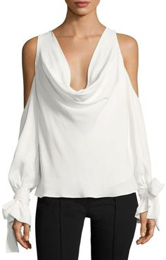 Keepsake Women's Interlude Cowl Neck Cold Shoulder Top
