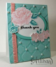 "All supplies by Stampin' Up! Stamps: Stippled Blossoms Stamp Set  Regarding Dahlias Stamp Set Ink Coastal Cabana Classic   Crisp Cantaloupe Classic  Island Indigo Classic   Pink Pirouette Classic Stampin' Pad  Jet Black StazOn   VersaMark  Paper Coastal Cabana, Pool Party,Whisper White  Accessories & Tools  Pearl Basic Jewels  Crisp Cantaloupe 3/8"" Ruffle Stretch Trim  Big Shot  Modern Mosaic TIEF Ovals Collection Framelits Dies"