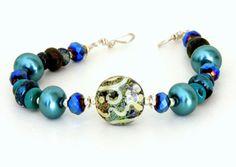 Midnight Blue Lampwork Glass Bead Bracelet. Teal by wildwomanbeads