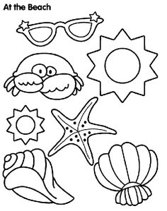"Remember your vacation at the beach with this fun ""sun and sand"" coloring page!"