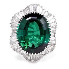 Stunning 26.94cts Green Tourmaline 5.70cts Diamond Cluster Platinum Ballerina Cocktail Ring Item # NAJ-1