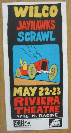 Original silkscreen concert poster for Wilco and The Jayhawks at The Riviera Theatre in Chicago, IL in 11 x inches. Signed and numbered out of only 104 by the artist Steve Walters. Rock Posters, Concert Posters, Music Posters, Theater Chicago, Theatre, Best Rock, Classic Rock, Rock N Roll, Indie
