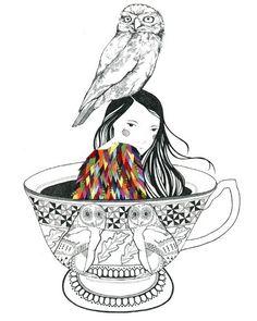 tea cups 'n' owls - adorable tat idea!jjjjj