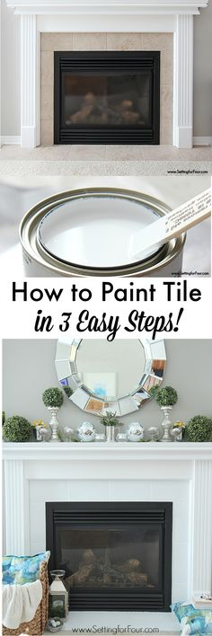 Are you tired of your ugly fireplace tile? Looking for easy DIY ways of painting fireplace tile and ways to update your fireplace? See these 9 beautiful DIY painted fireplace projects! Fireplace Remodel, Before And After Diy, Updating House, Home Renovation, Home Diy, Diy Painting, Sweet Home, Painting Tile, Fireplace Makeover