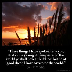 """I have told you all this so that you may have peace in me. Here on earth you will have many trials and sorrows. But take heart, because I have overcome the world."""" John 16:33"""