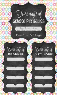 First Day of School Free Printable Chalkboard Sign- Download at www.thepinningmama.com
