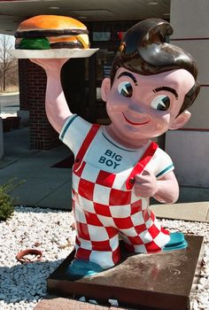 """This chubby boy in red and white checkered overalls holding a burger is the mascot for Big Boy Restaurants. The inspiration for this lovable character was Richard Woodruff. At the age of 6, Richard walked into Bob Wian's diner and Mr. Wian said """"Hello, Big Boy"""" and the rest was history. The name"""
