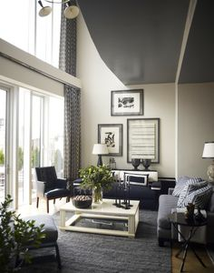 All grey/blue and white, including ceiling.  Very nice but could benefit from a shot of another color somewhere.