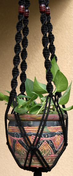 HELIX #Handmade #Macrame Plant Hanger In BLACK By #ChironCreations Http://
