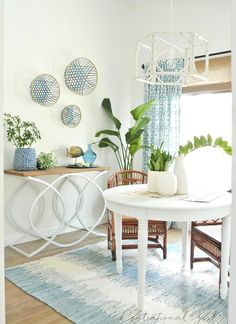 sunroom table and plants