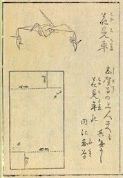 """S 7-1 Hiden Senbazuru Orikata (""""Secret to Folding One-thousand Cranes"""") published in Japan in 1797 is the first known book on origami. The images with a name ending -2 are on the left hand side and -1 is on the right of a pair of pages. Amazing!!!"""