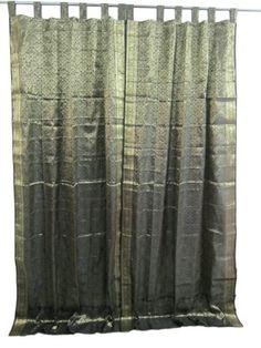 "2 India Curtain Golden Bodrder Brocade Silk Sari Curtains Drapes Panels 96"" (Black Gold) by Mogul interior, http://www.amazon.com/dp/B009T1O2K0/ref=cm_sw_r_pi_dp_98aHqb0GWQJ7M"