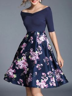 Boat Neck Flowers Print Combo Dress -SheIn(Sheinside)