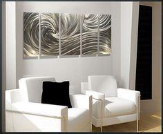 The New Era In Art  Silver Ocean Dance  52 x 24 by luboart on Etsy, $237.00